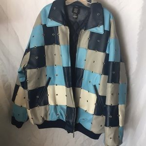 Leather color block jacket